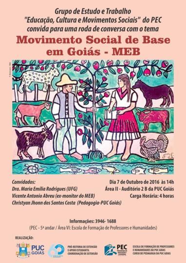"""Roda de Conversa """"Movimento Social de Base em Goiás - MEB"""""""